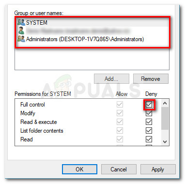 Deny Full Control permissions of every group or user name