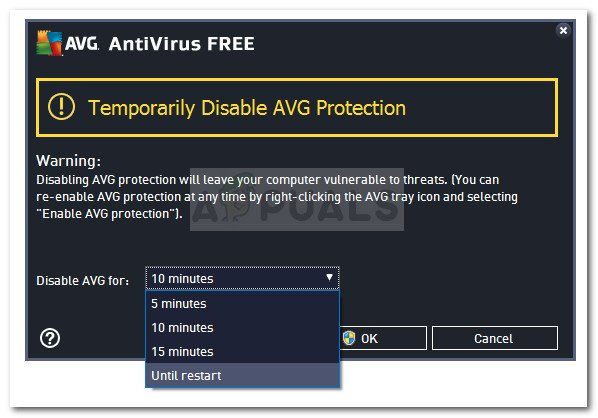 Disable the real-time protection of your 3rd-party AV