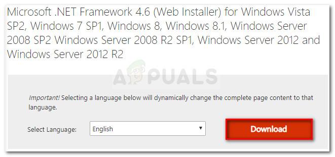 Downloading Microsoft .NET framework 4.6