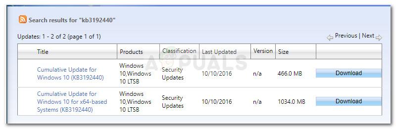 Herunterladen des entsprechenden Windows-Updates