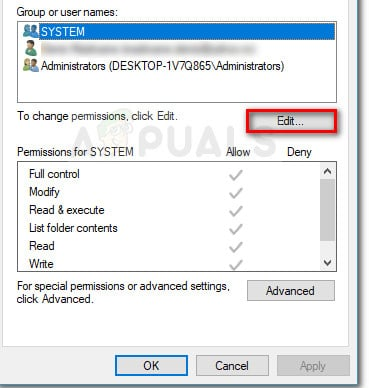 Edit permissions of the selected group
