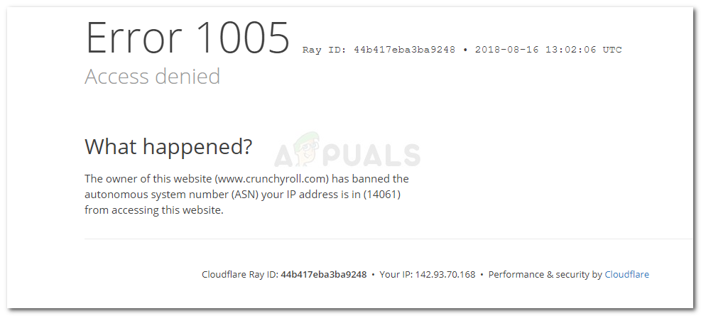 Error 1005 Access Denied - The owner of this website has banned the autonomous system number (ASN) your IP address from accessing this website.