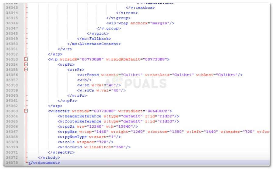 Behebung des XML-Fehlers
