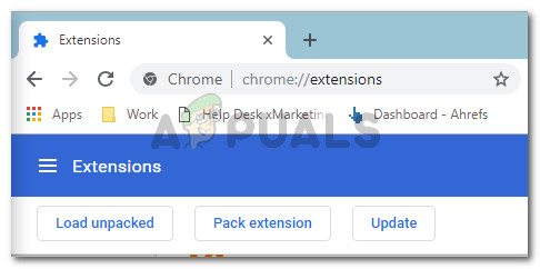 Accessing the Extensions Tab from Chrome's navigation bar