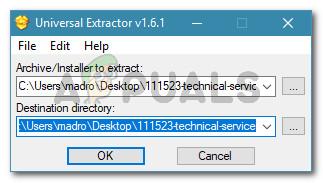 Extrahieren der Dateien mit Universal Extractor