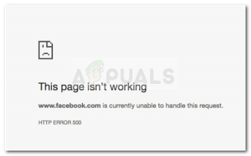 www.facebook.com is currently unable to handle this request. HTTP ERROR 500