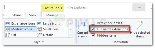 Make sure that File name extensions option is checked