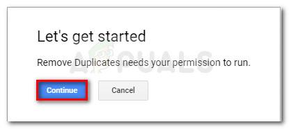 Giving Remove Duplicates permission to run