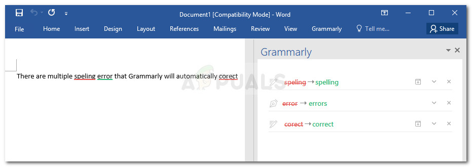 Checking grammar errors with Grammarly in Microsoft Word