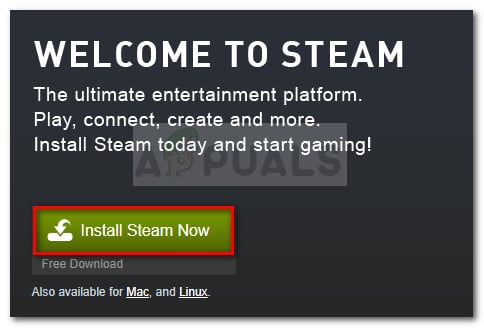 Download the Steam installation executable