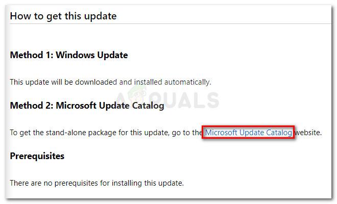 Klicken Sie auf den Microsoft Update Catalog Hyperlink