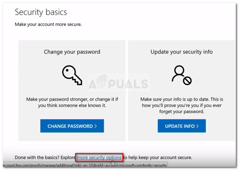 Click on more security options at the bottom of the Security page