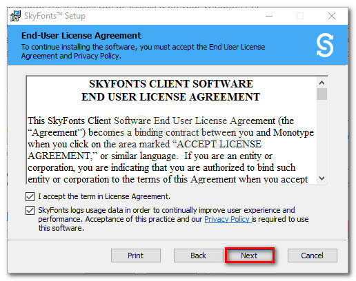 Agree with SkyFont's EULA and hit Next to proceed