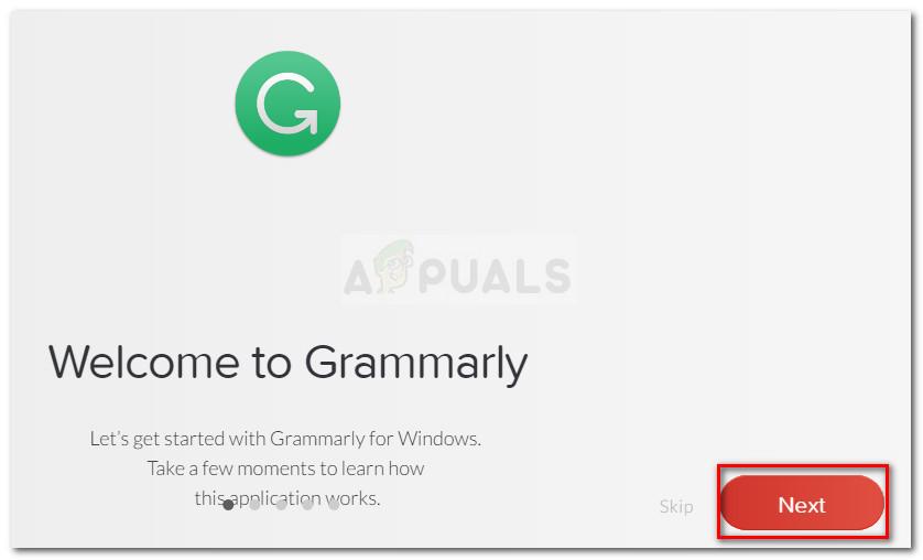 Going through Grammarly's training screens