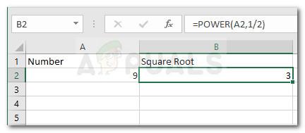 Пример использования функции Power для нахождения квадратного корня