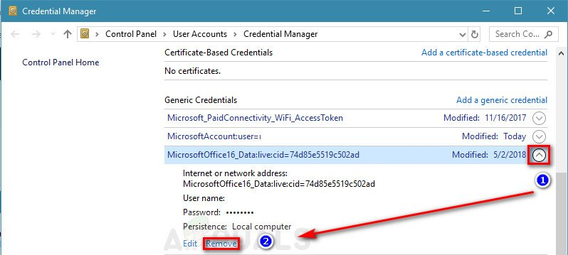 Expand Credential Manager's entry drop-down menu and click on Remove