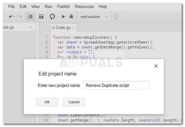 Saving the Remove Duplicate script