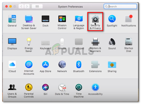 Go to System Preferences and click on Security and Privacy
