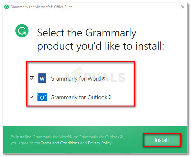 Selecting the products that you'll use Grammarly in