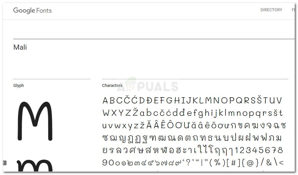 Example of Google Font