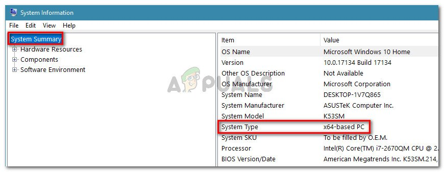 Check the System Type under System Summary