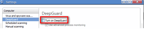 Disabling the DeepGuard feature