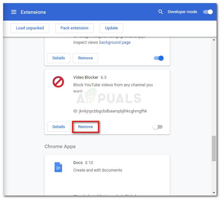 Uninstall extension via Remove button