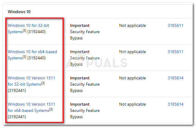 Auswahl des entsprechenden Windows Security Bulletin-Updates