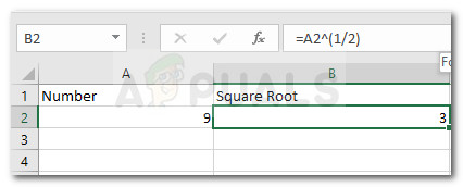 Пример использования оператора экспоненты для нахождения квадратного корня из числа
