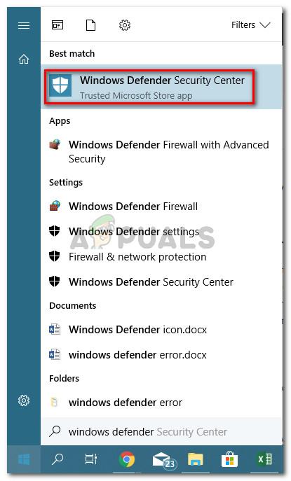Öffnen des Windows Defender-Sicherheitscenter