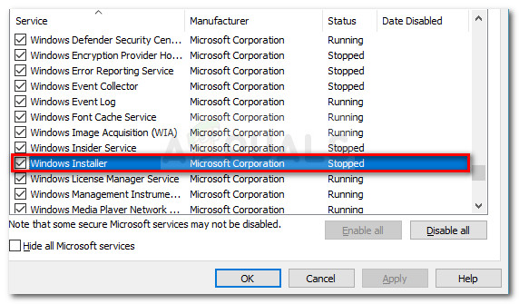 Making sure that the Windows Installer service is enabled
