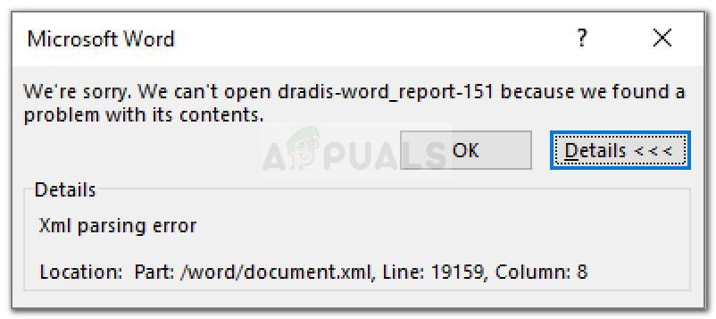Word XML-Analysefehler