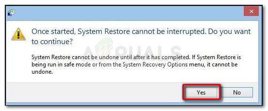 Klicken Sie auf Ja, um den Systemwiederherstellungsprozess zu bestätigen