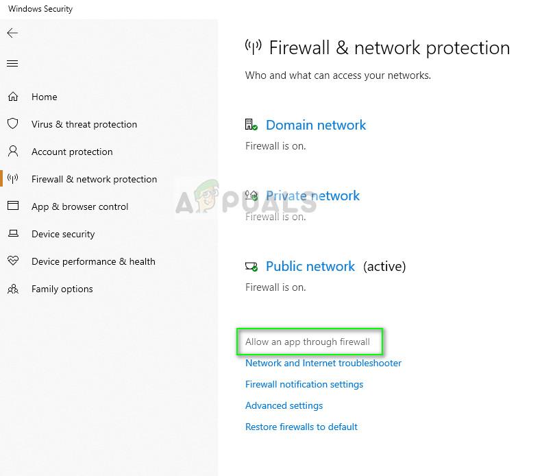 Allow an app through firewall - Firewall settings on Windows 10
