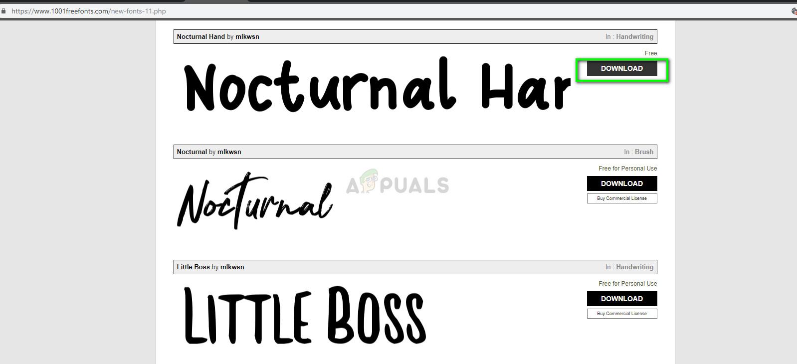 Downloading font file