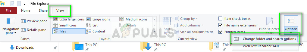 Change folder and search options - Windows Explorer on Windows 10