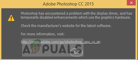 Photoshop has encountered a problem with the display driver