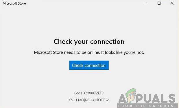 """Microsoft Store Error 0x80072efd """"Check your Connection"""""""