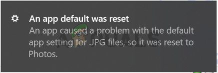 An app default was reset notifications