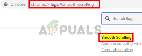 2.Type chrome://flags/#smooth-scrolling in google chrome