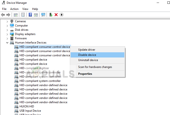 Disabling all HID-Compliant devices