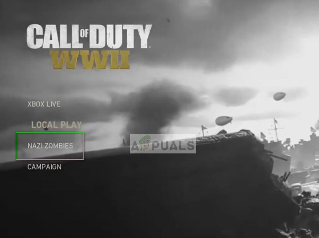 Nazi Zombies game menu - COD WW2 on PS4