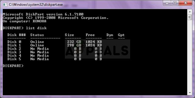 DISKPART >> list disk