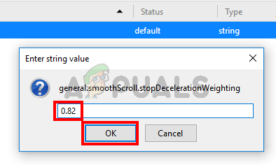 Change general.smoothScroll.stopDecelerationWeighting value to 0.82