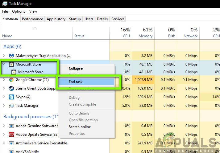 Ending Microsoft Store Task - Task Manager