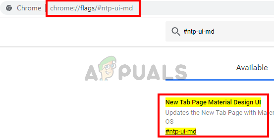 type chrome://flags/#ntp-ui-md and press enter