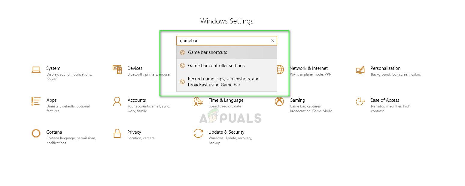 GameBar shortcuts - Settings