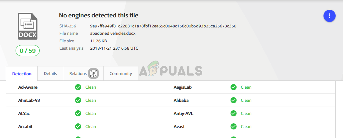 VirusTotal file check