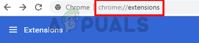 type chrome://extensions/ in the address bar