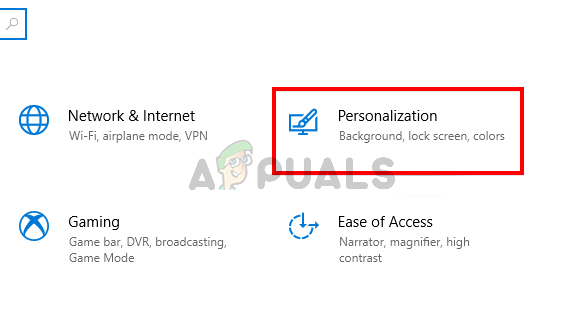 Select Personalization from settings